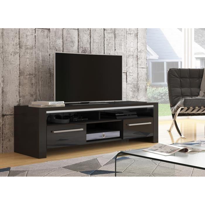 commode rtv huette noir mat noir brillant achat vente meuble tv commode rtv huette noir. Black Bedroom Furniture Sets. Home Design Ideas