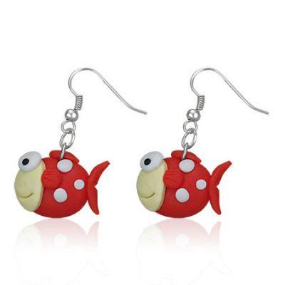 Boucles d oreilles style manga poisson rouge achat for Achat poisson rouge paris 18
