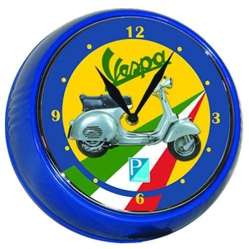 Horloge vespa piaggio bleue achat vente horloge m tal - Horloge murale led bleue ...