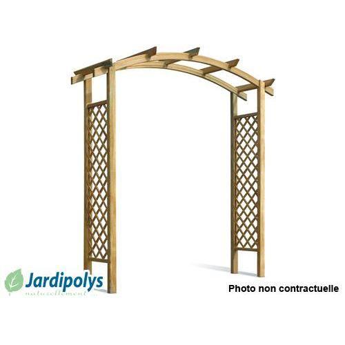 Pergola capucine double en arc jardipolys achat vente for Arc de jardin en bois