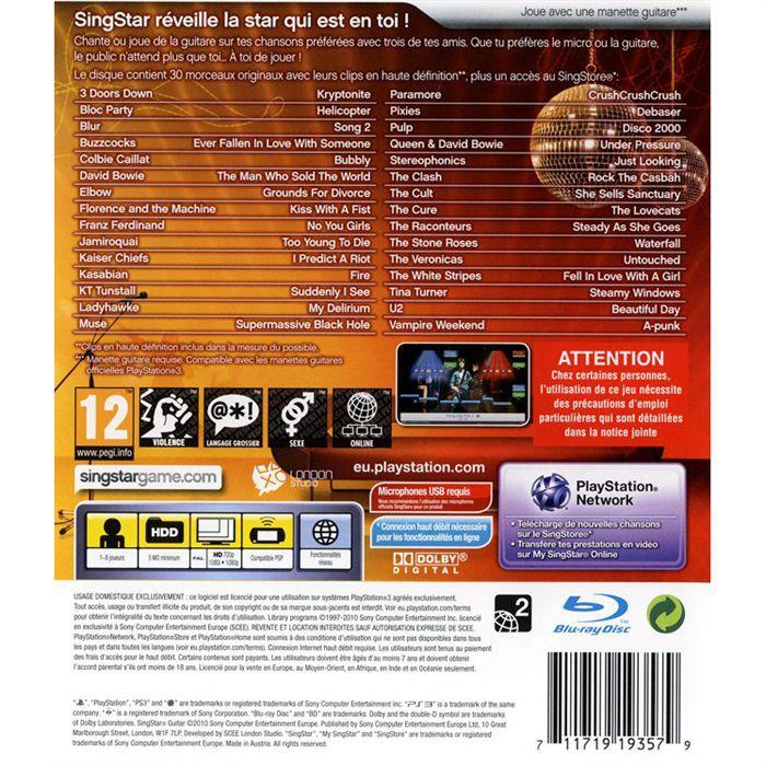 Jeux PS3 SONY SingStar Guitar