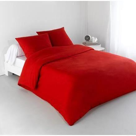 housse de couette 200 x 220cm 2 personnes rouge uni achat vente housse de couette soldes. Black Bedroom Furniture Sets. Home Design Ideas