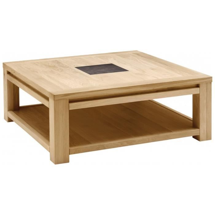Table basse carr e ch ne naturel c ramique achat vente table basse table - Table basse carree chene massif ...