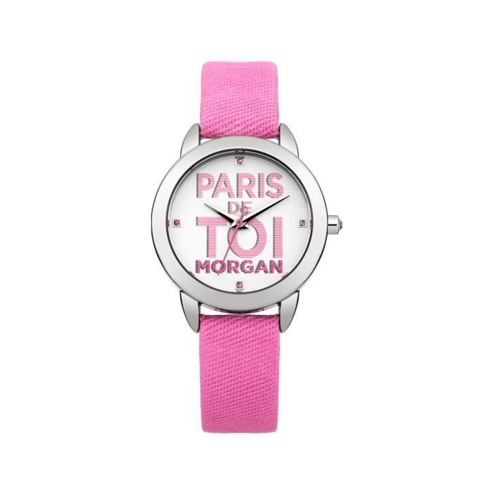 montre femme morgan paris de toi bracelet tissu rose clair achat vente montre montre femme. Black Bedroom Furniture Sets. Home Design Ideas