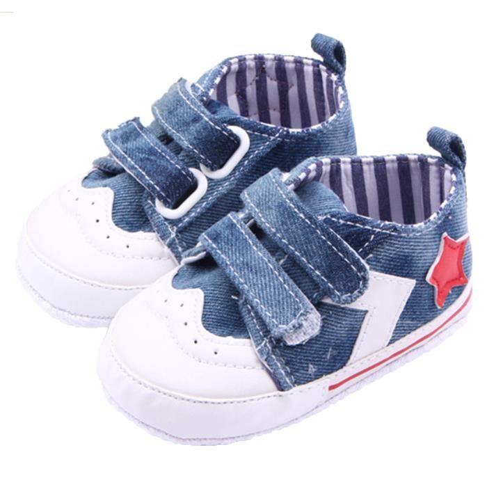 chaussure en toile b b gar on fille chausson 0 1an bleu bleu bleu achat vente babies. Black Bedroom Furniture Sets. Home Design Ideas