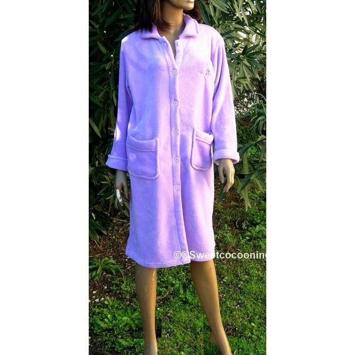 Robe de chambre femme hiver veste boutonnee parme achat for Robe de chambre boutonnée femme