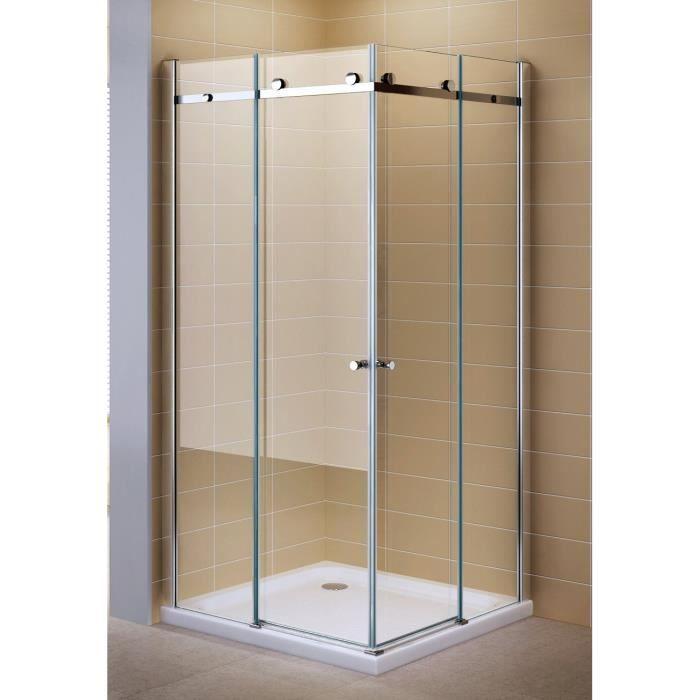 Porte de douche coulissante en verre de s curit transparent 80cm x 100cm sans bac douche for Portes de douche en verre
