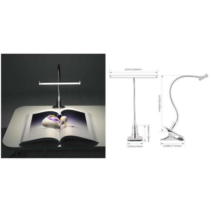 lampe clip lampe pince lampe de bureau lampe de lecture 27 led lampe touch control capteur de. Black Bedroom Furniture Sets. Home Design Ideas