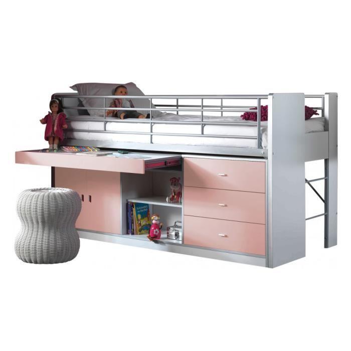 lit enfant bureau r tractable laqu rose clair bonny achat vente lit complet lit enfant. Black Bedroom Furniture Sets. Home Design Ideas