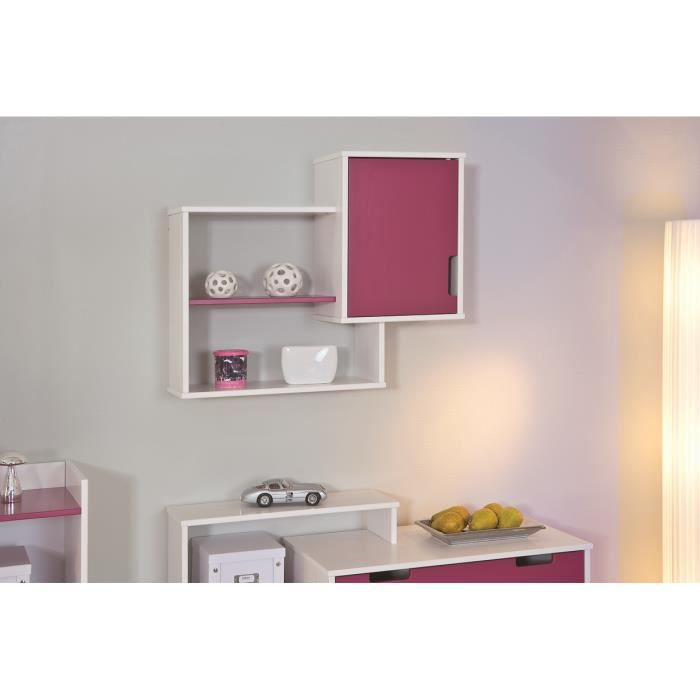 Meuble tag re mural coloris blanc et rose magenta achat for Meuble mural etagere