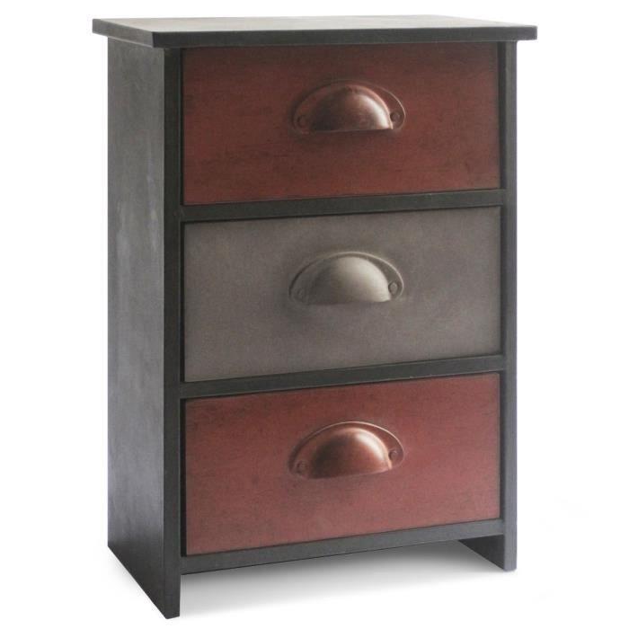 meuble en m tal avec 3 rangements tiroirs toline r achat. Black Bedroom Furniture Sets. Home Design Ideas