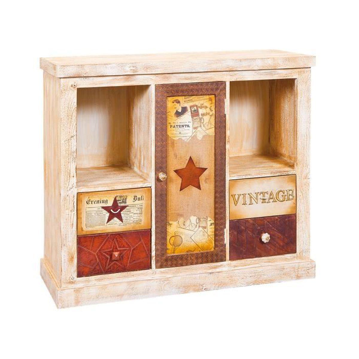 Amely meuble 1 porte 4 tiroirs marron achat vente for Meuble porte four