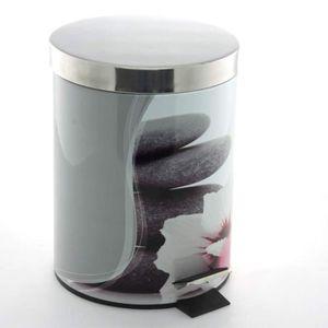 set accessoires poubelle de salle de bain pdale galets clairs - Accessoire Salle De Bain Zen