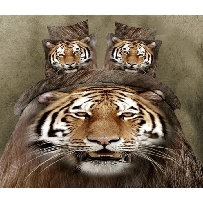 parure de lit tigre 200 230 cm 3d effet 4 piece achat vente housse de couette parure de lit. Black Bedroom Furniture Sets. Home Design Ideas