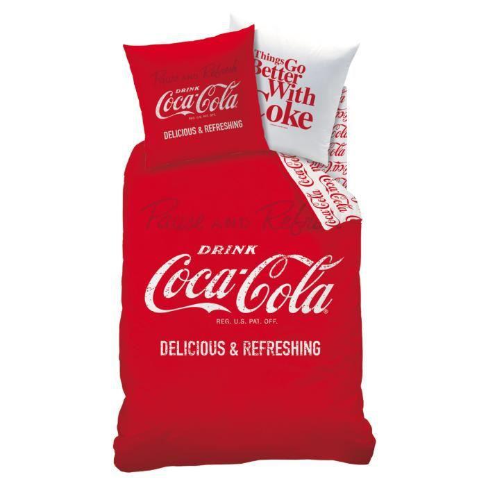 housse de couette et taie d 39 oreiller rouge coca cola achat vente housse de couette cdiscount. Black Bedroom Furniture Sets. Home Design Ideas