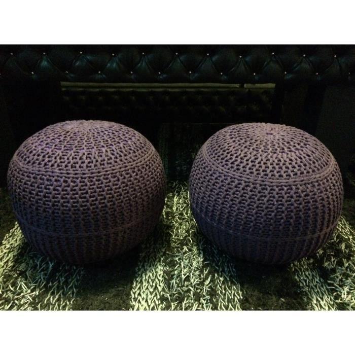 lot de 2 poufs ronds tricotes prune violet achat vente. Black Bedroom Furniture Sets. Home Design Ideas