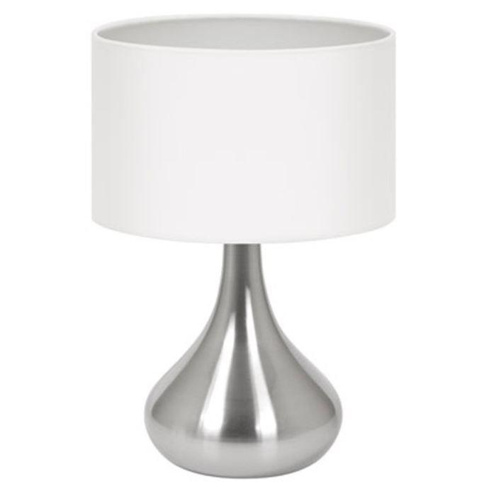 Lampe de table touch hannah blanc tissu acier achat for Lampe de table blanche