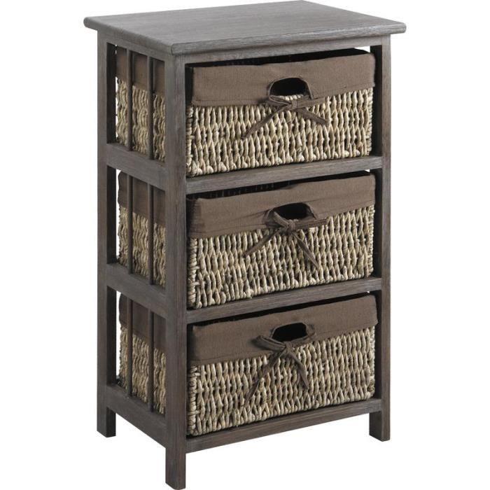 Meuble de rangement 3 tiroirs paniers achat vente for Petit meuble de rangement avec tiroirs