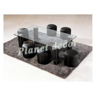 Table basse 6 poufs harmony noir achat vente table basse table basse 6 - Table basse 6 poufs noir ...