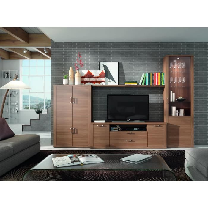 ensemble bibliotheque et meuble tv kylian noyer 21845. Black Bedroom Furniture Sets. Home Design Ideas