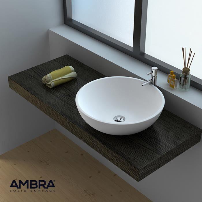 vasque poser ronde 40 cm en solid surface bol a blanc. Black Bedroom Furniture Sets. Home Design Ideas