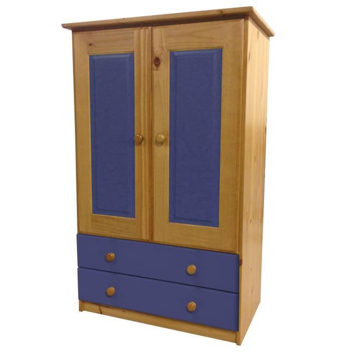 armoire pin massif ortiz avec tiroirs et penderie antique et bleu achat vente armoire de. Black Bedroom Furniture Sets. Home Design Ideas
