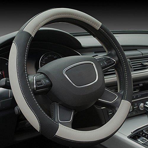 couvre volant de voiture similicuir 38 cm noir gris achat vente couvre volant couvre. Black Bedroom Furniture Sets. Home Design Ideas