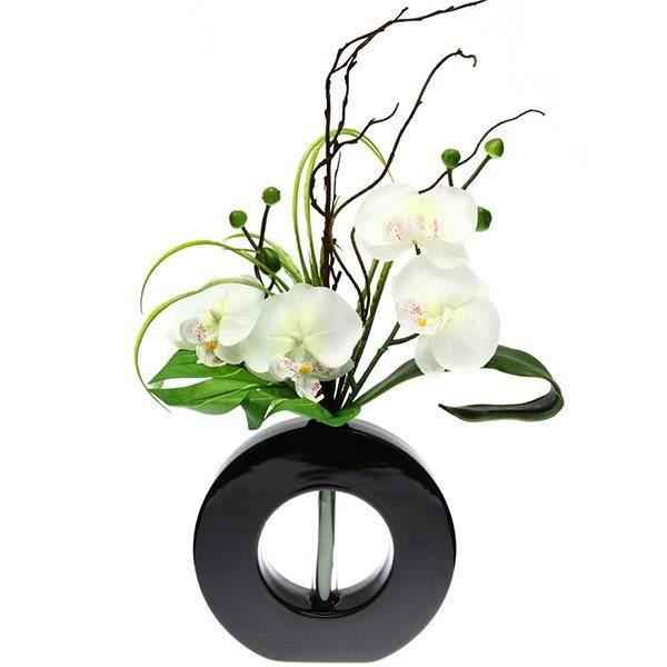 Composition florale orchid es blanche achat vente for Vente fleurs artificielles