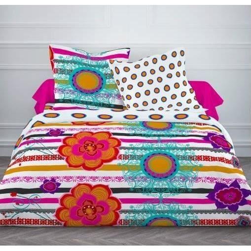 today parure de couette primavera 100 coton 1 housse de couette 220x240cm 2 taies d. Black Bedroom Furniture Sets. Home Design Ideas