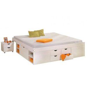 lit 2 places avec matelas et sommier et rangement achat vente lit 2 places avec matelas et. Black Bedroom Furniture Sets. Home Design Ideas