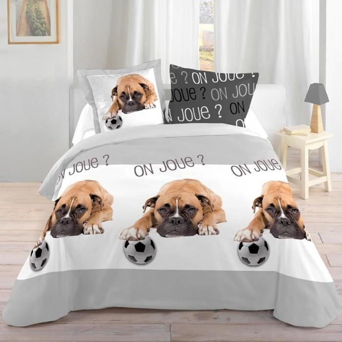 parure de lit chien et ballon 140 x 200 cm achat vente parure de drap soldes cdiscount. Black Bedroom Furniture Sets. Home Design Ideas