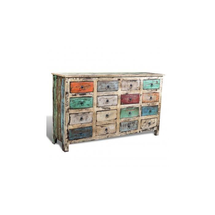 commode cabinet de rangement vintage 16 tiroirs face en blanc achat vente petit meuble. Black Bedroom Furniture Sets. Home Design Ideas