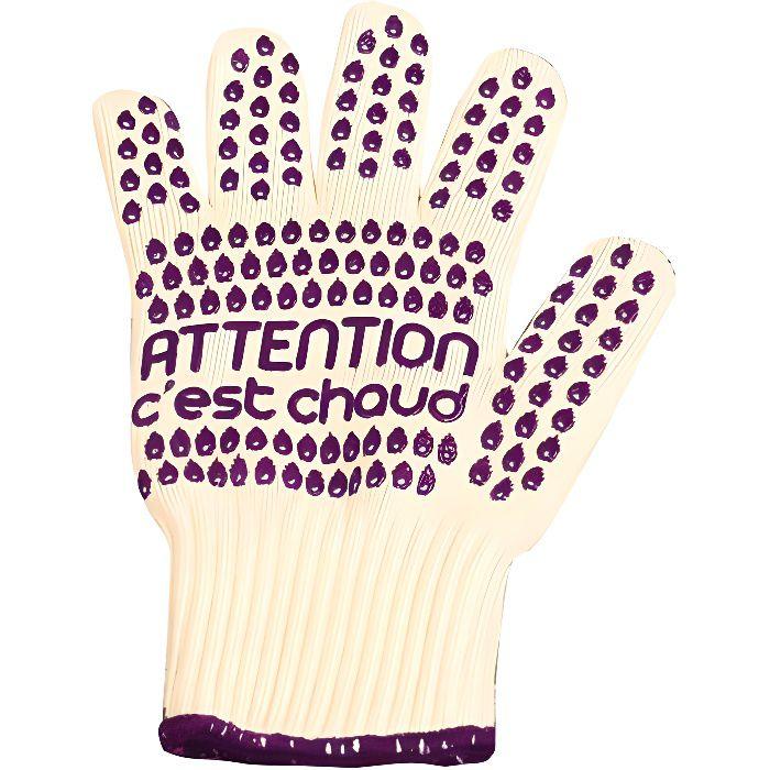Gant anti chaleur attention violet achat vente gants - Gant cuisine anti chaleur ...