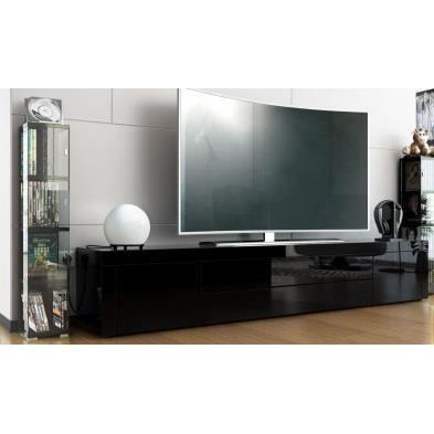 meuble tv noir noir noir 200cm achat vente meuble tv meuble tv cdiscount. Black Bedroom Furniture Sets. Home Design Ideas
