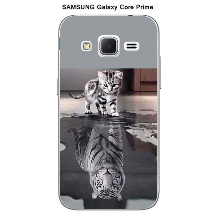 coque samsung galaxy core prime design chat tigre blanc. Black Bedroom Furniture Sets. Home Design Ideas