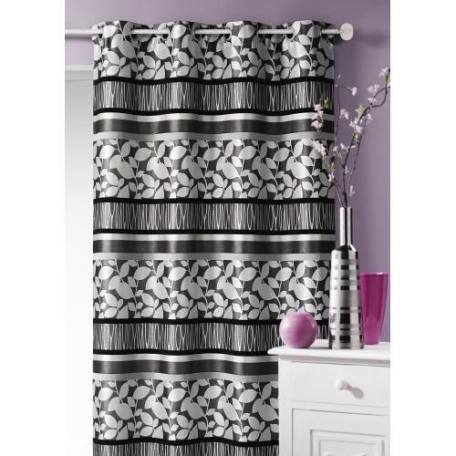 double rideau jacquard 39 feuillage 39 gris 140 x 2 achat. Black Bedroom Furniture Sets. Home Design Ideas