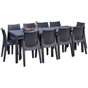 Table de jardin plastique 10 personnes achat vente for Salon de jardin plastique gris