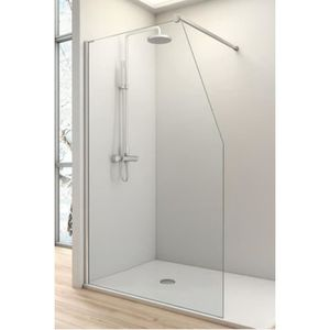 Paroi de douche fixe one avec decoupe en pente verre securit 6 ou 8 m - Paroi douche discount ...