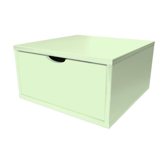 Cube de rangement bois avec tiroir largeur 50 cm vert pastel achat vente - Rangement tiroir bois ...