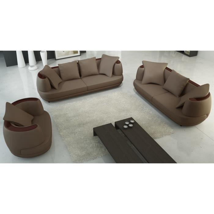 Ensemble canap 3 2 1 places en cuir marron ryga achat vente canap sof - Ensemble canape cuir ...