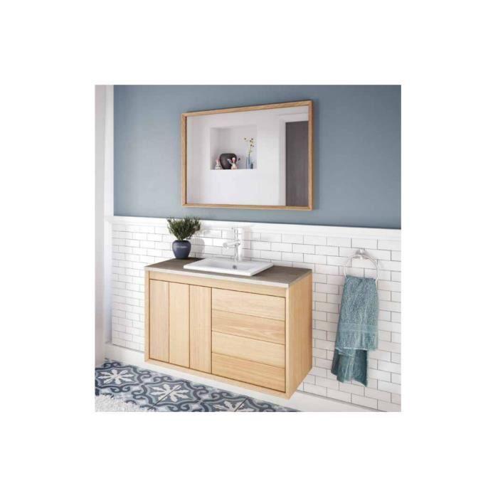 Refuge meuble sous vasque 120 cm a suspendre chene clair plan double vasque c ramique achat - Meuble sous vasque 120 cm ...