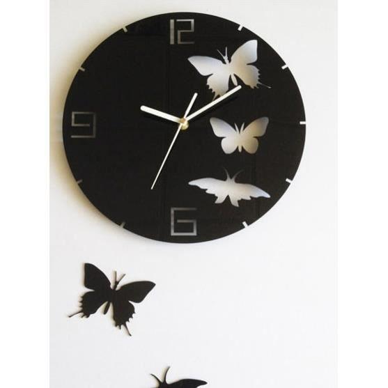 Horloge Murale Avec Trois Papillons Achat Vente