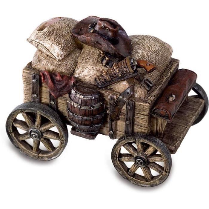 Tirelire Chariot Cowboy . Matière : résine . Dimensions : 13,5 x