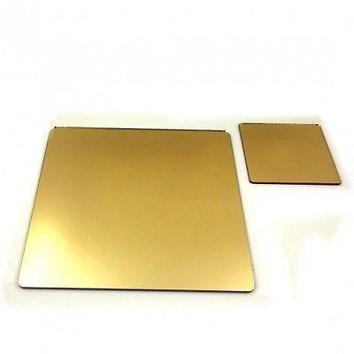 8 carr s napperons de miroir d 39 or et sous verres achat for Miroir acrylique incassable