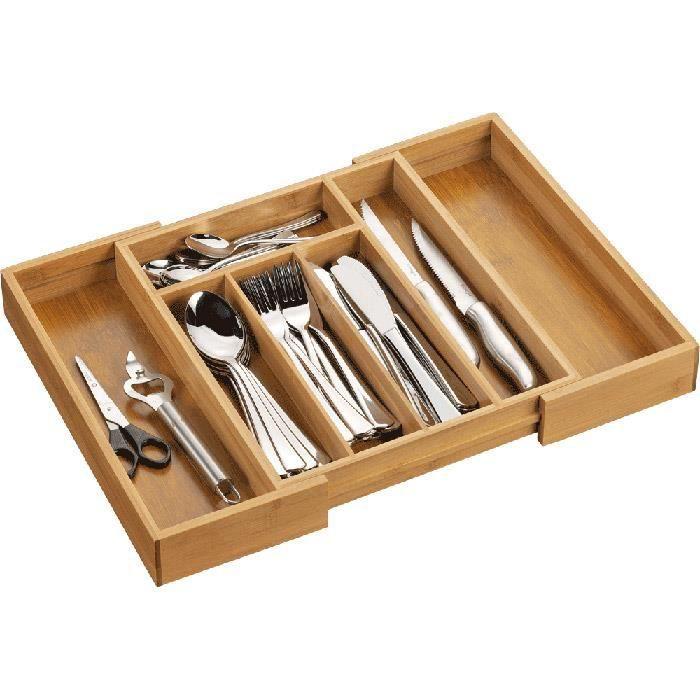 Range couverts extensible en bois bambou de 28 5 achat for Set de table bambou