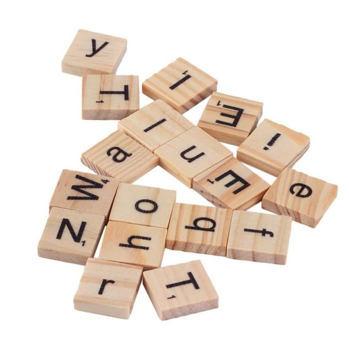 100 en bois alphabet scrabble tuiles noir lettres et - Lettre scrabble bois ...