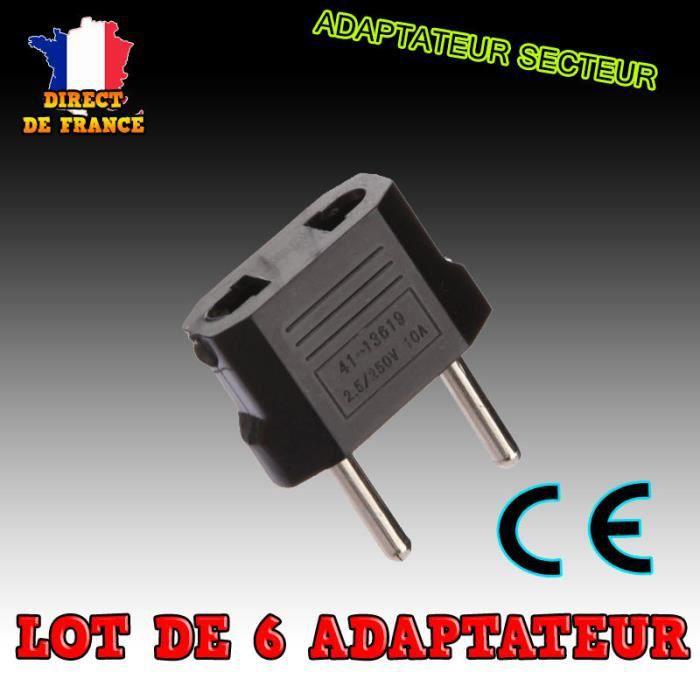 Lot 6 adaptateur secteur us chine vers prise eu france europe voyage usa eur fr prix pas cher - Adaptateur prise usa vers europe ...
