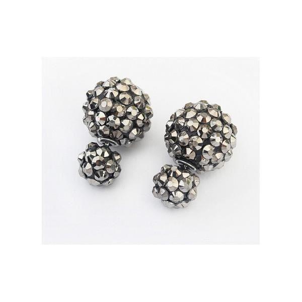 boucles d 39 oreilles double boule strass en relief couleur noir achat vente boucle d 39 oreille. Black Bedroom Furniture Sets. Home Design Ideas