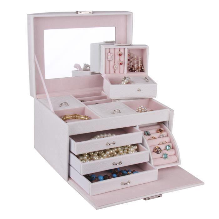 bo te pr sentoir coffret bijoux femme 3 plateaux avec petite mallette blanc achat vente. Black Bedroom Furniture Sets. Home Design Ideas
