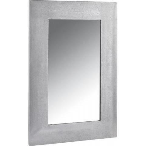 Miroir rectangle avec cadre en zinc gris achat vente for Miroir avec cadre